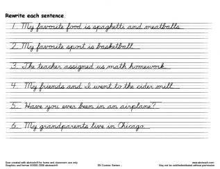 Printable handwriting worksheets sentences