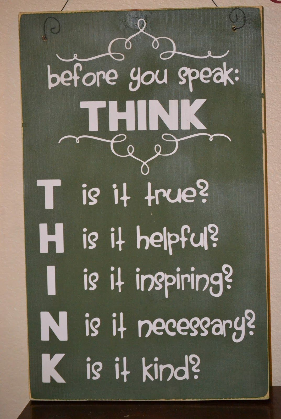 think before you speak Living a life that matters worth seeing: poster before you speak - think t - is it true h - is it helpful i - does it inspire confidence n - is it necessary k - is it kind - adapted by michael josephson from unknown original source.