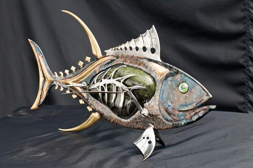 Peacock metal fish creations pinterest for Metal fish art