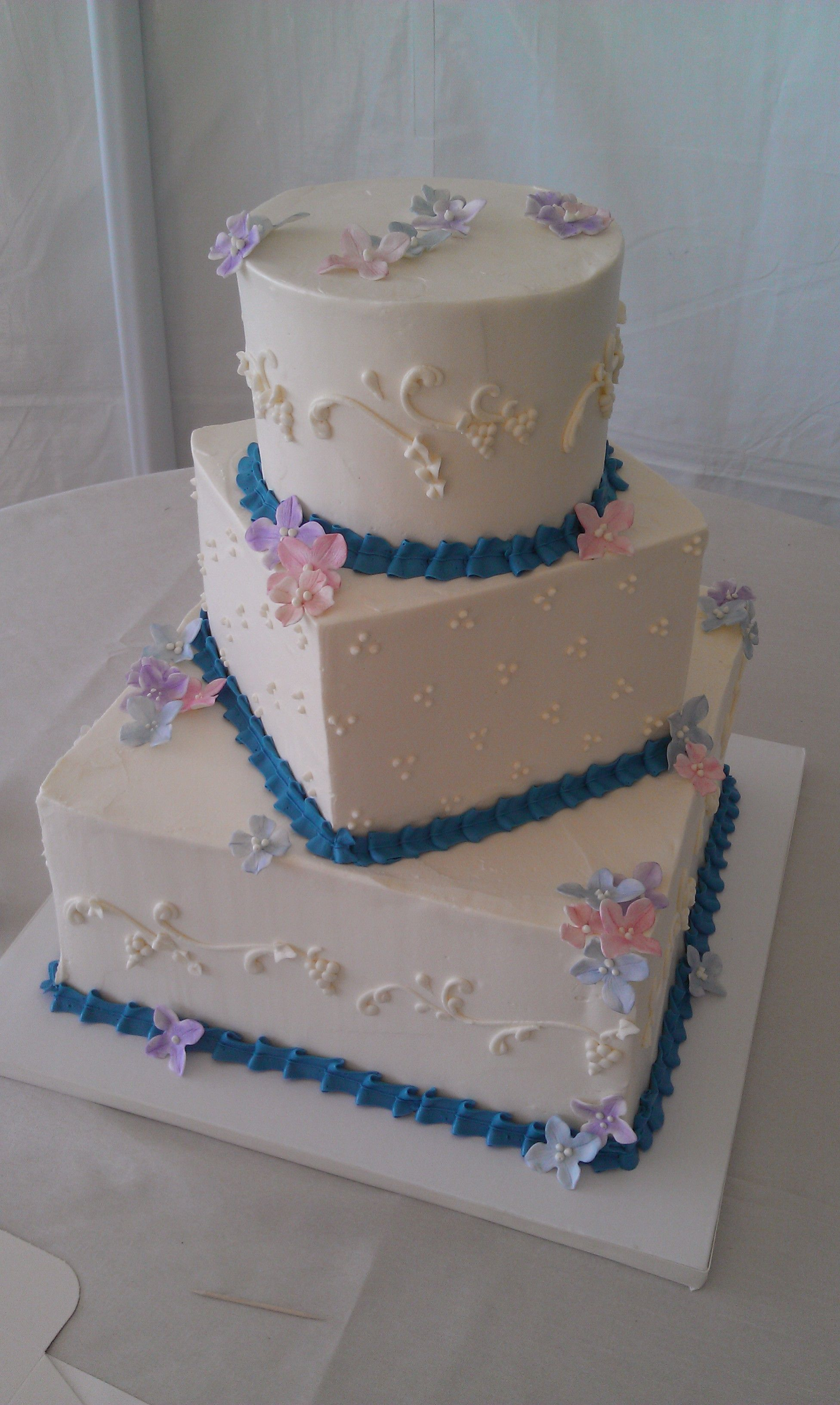 Wedding Cake with Blue Ribbon & Flowers