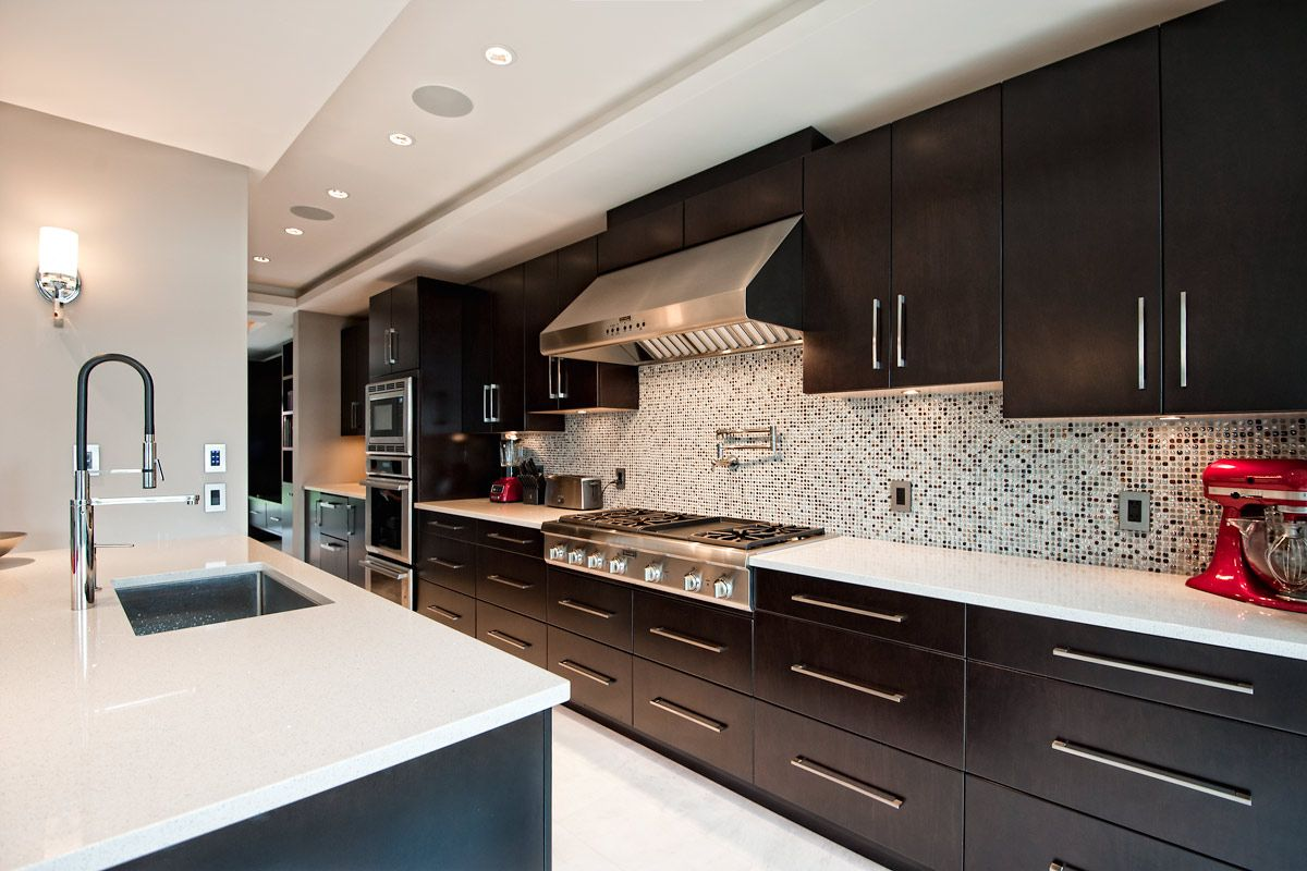 long kitchen with espresso cabinets kitchen ideas