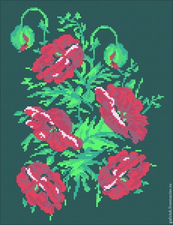 Вышивка красные маки на черном фоне