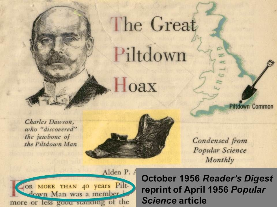 the piltdown man hoax Piltdown man consists of five skull fragments, a lower jaw with two teeth and an isolated canine the first fossil fragment was allegedly unearthed by a man digging in gravel beds in piltdown in.