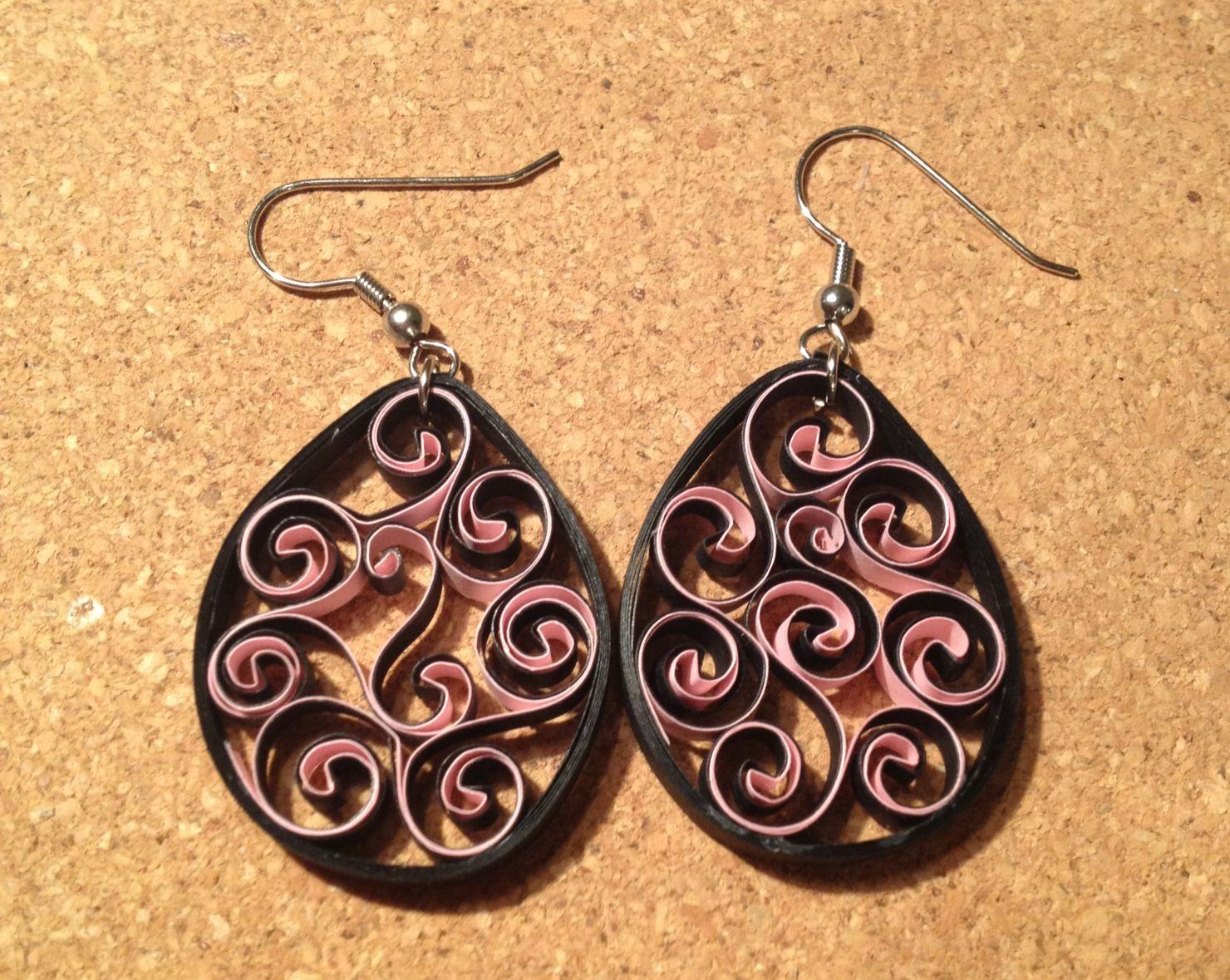 Quilling Earrings Designs Images : Black/pink quilled earrings Quilling Pinterest