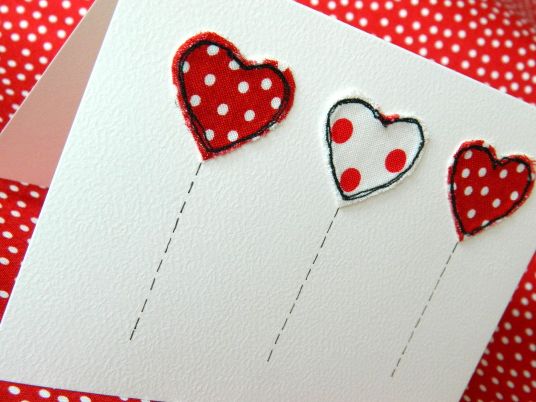 Machine embroidery on greeting cards be mine valentine