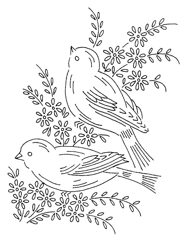 Embroidery vintage birds patterns