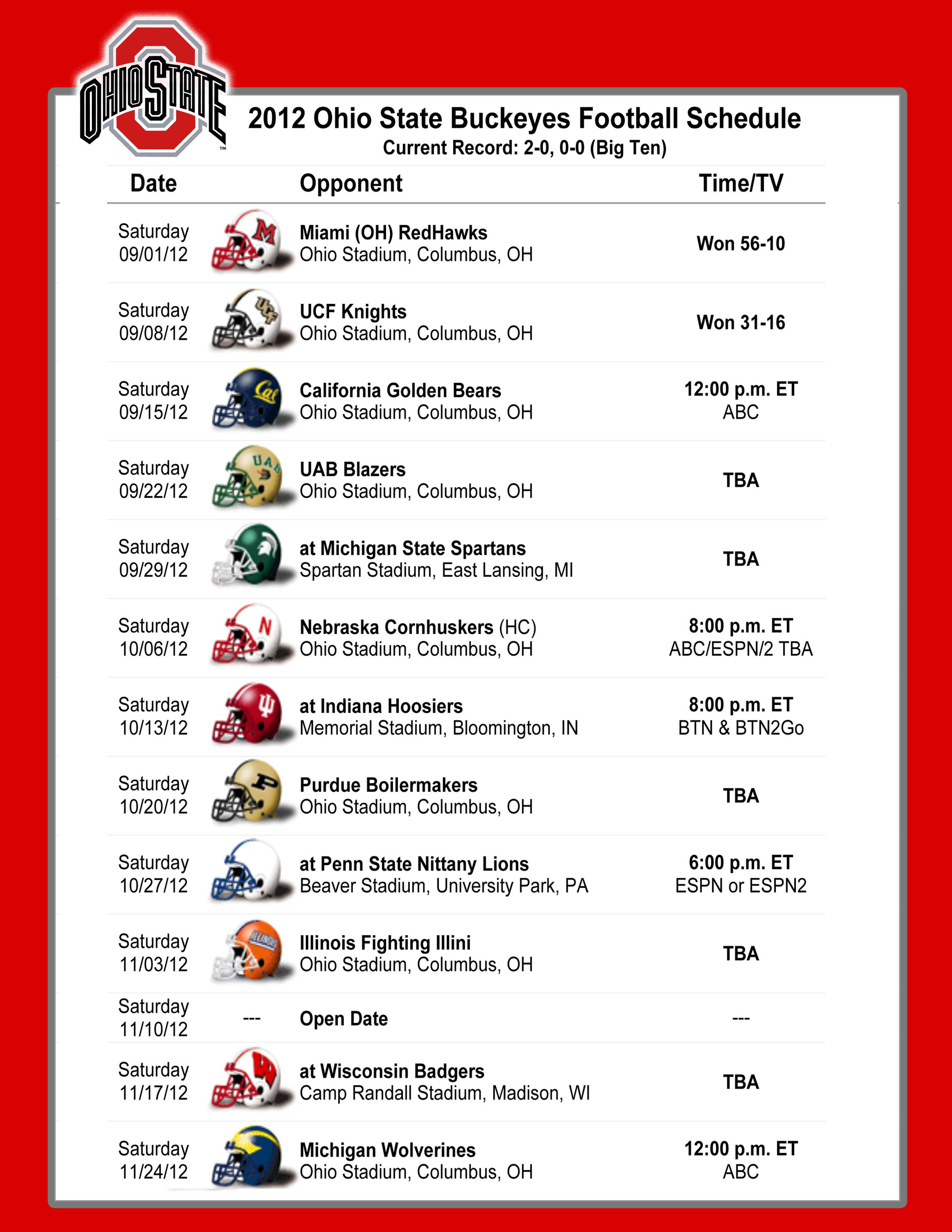 Breathtaking image pertaining to ohio state football schedule printable