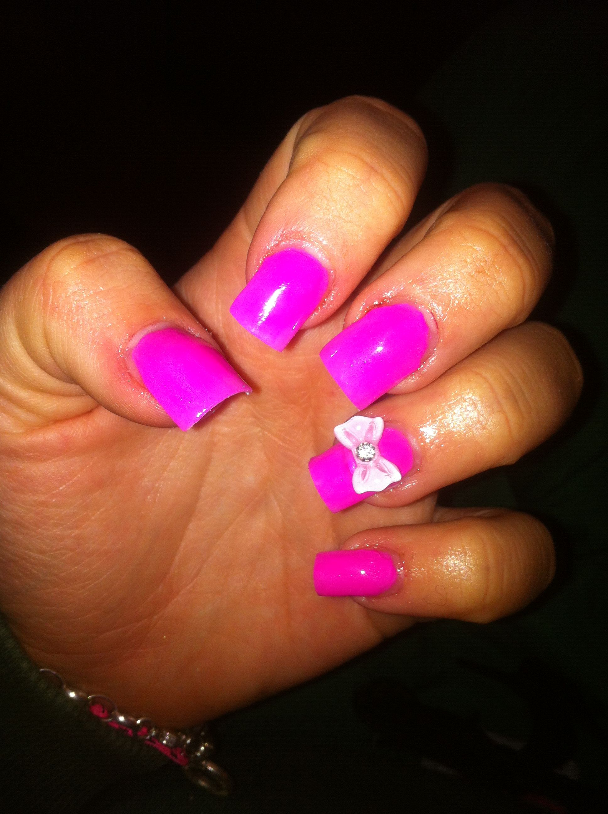 hot pink nails with diamonds - photo #5