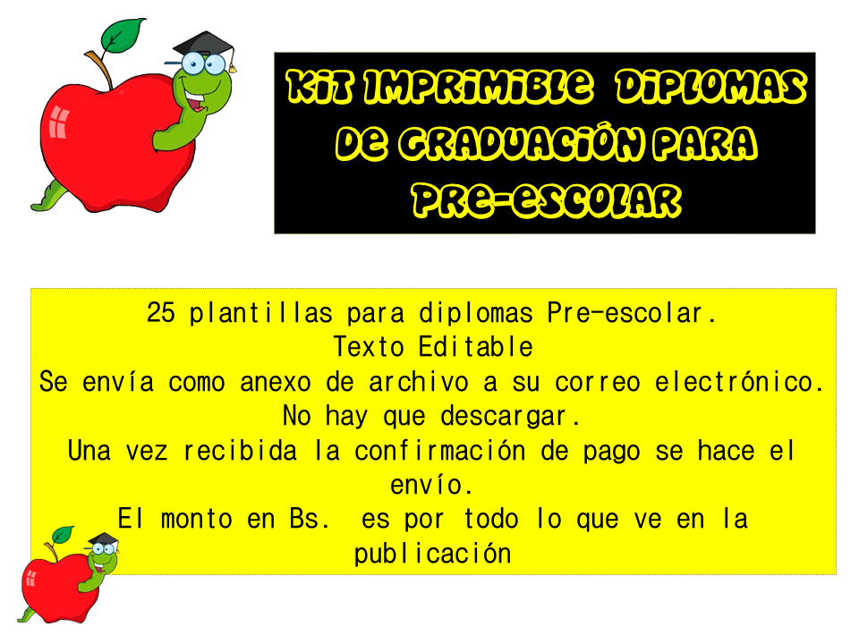 Kit Imprimible Diplomas Graduacion Para Preescolar (Tarjetas y