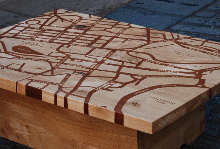 Wood Elevation Edinburgh : Map table edinburgh — wood pixodium