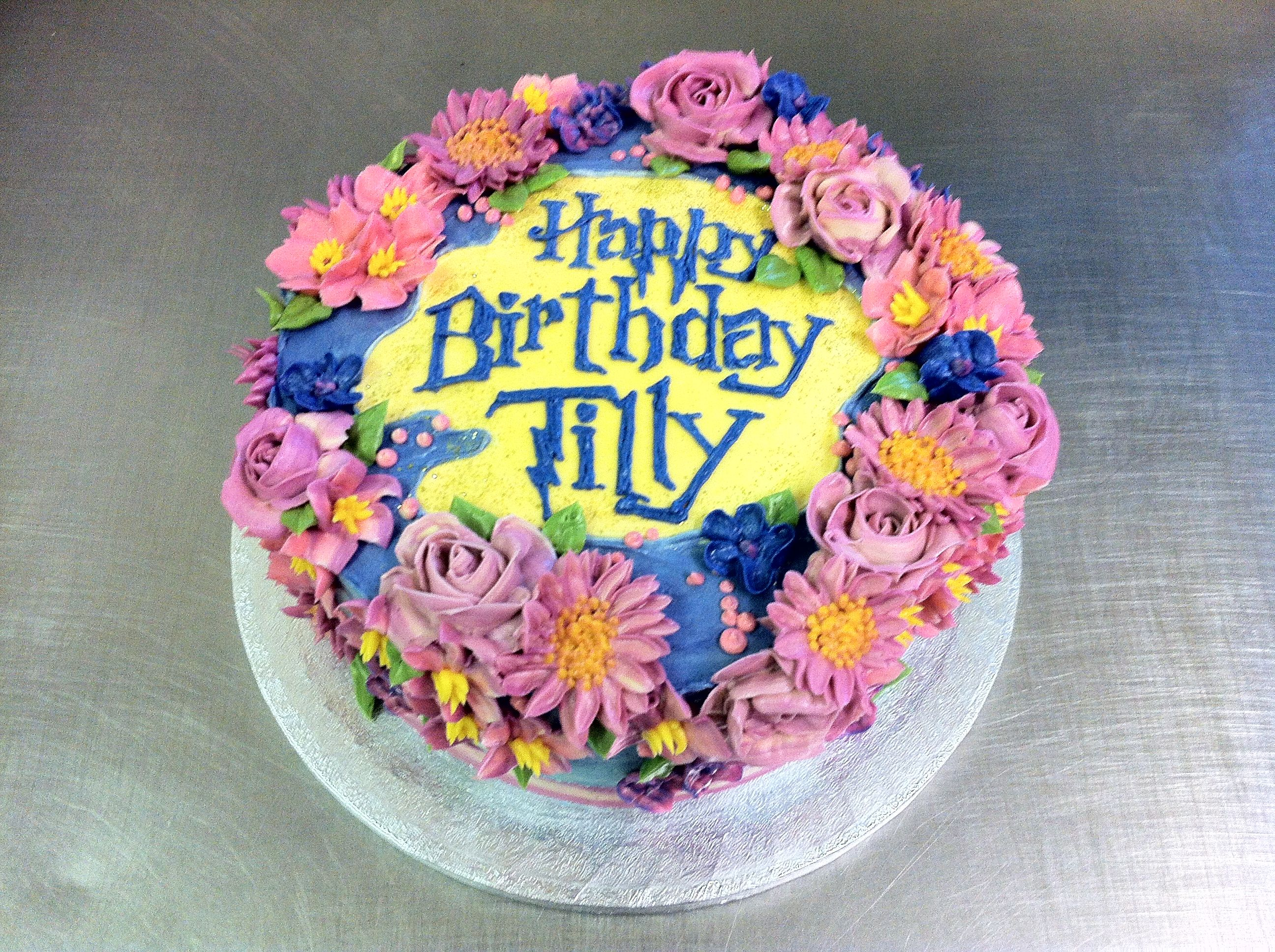 Buttercream birthday cake Butter cream designs Pinterest