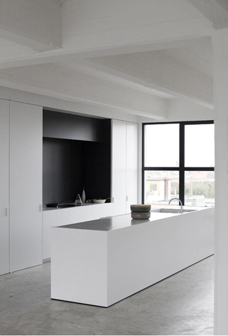 Black And White Kitchen Concrete Floors Kitchen Pinterest