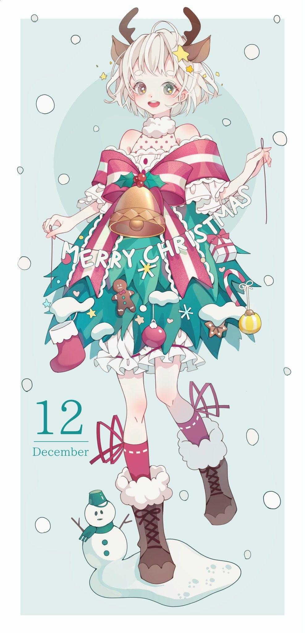 おしゃれ かわいい クリスマス イラスト 女の子