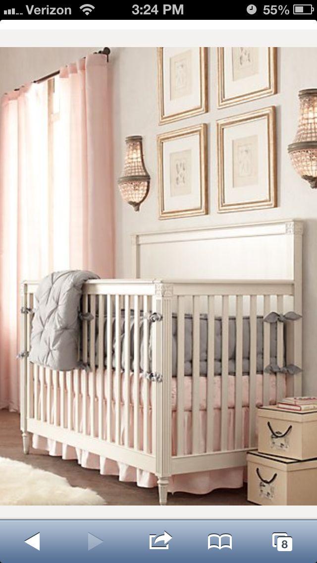 White Cream Grey And Light Pink Girl 39 S Nursery Pinterest