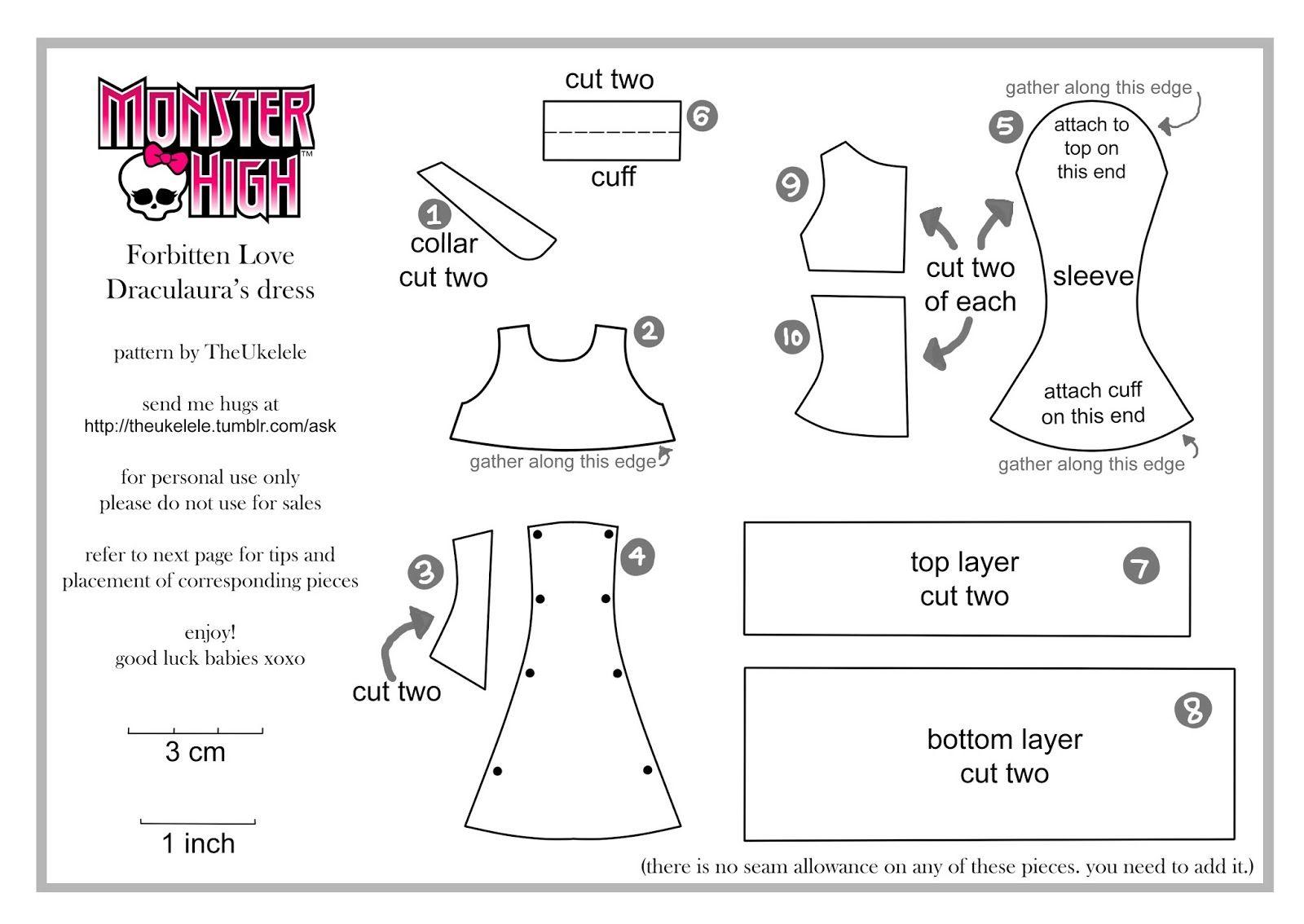 Как сшить платье для куклы монстер хай своими руками фото