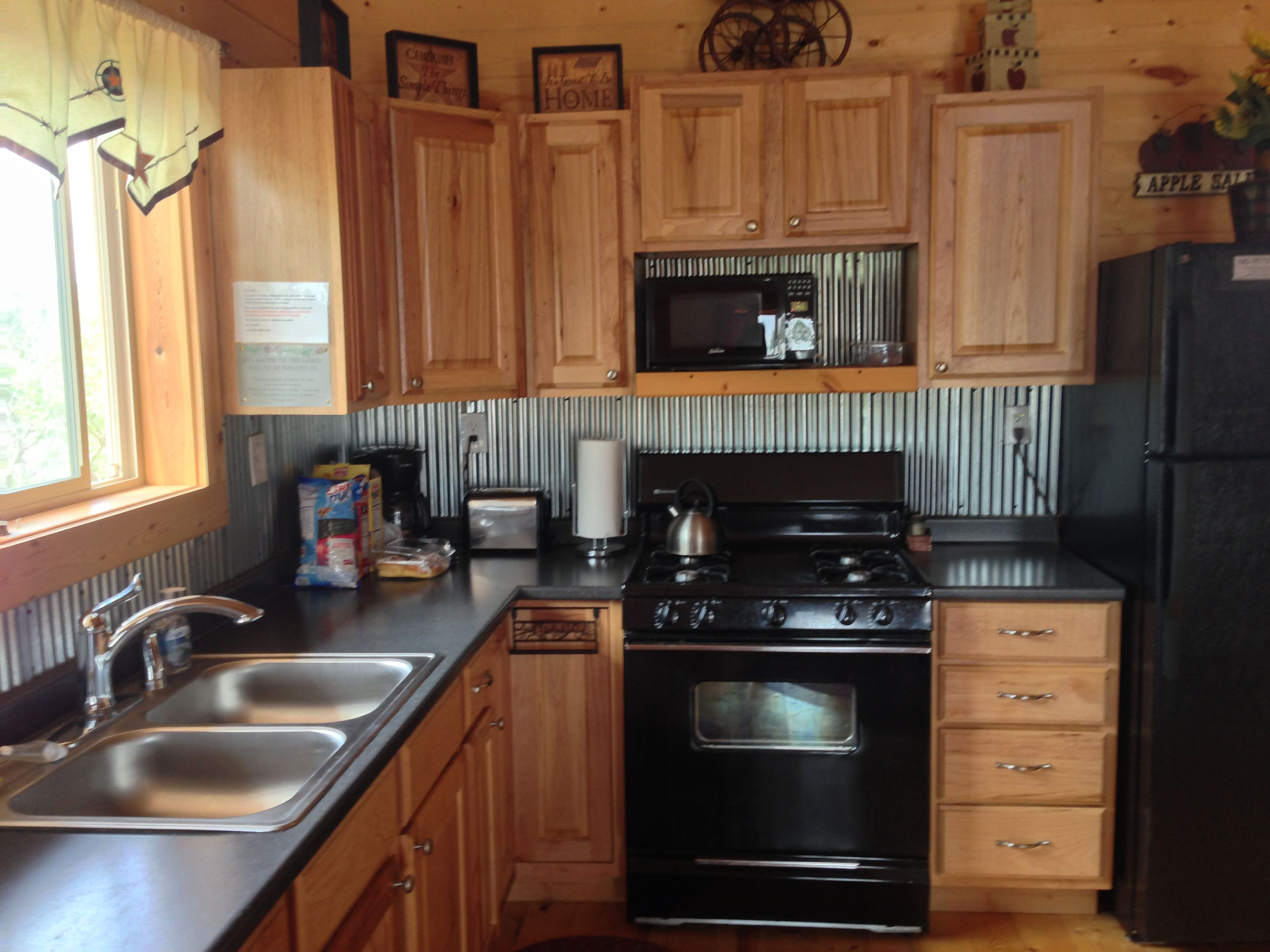 Tin back splash for the home pinterest for Barn kitchen designs
