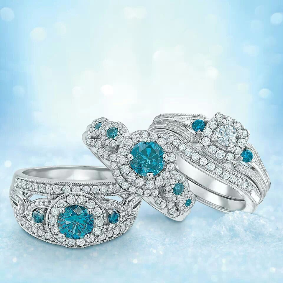 Blue and White Diamond Rings from Zales