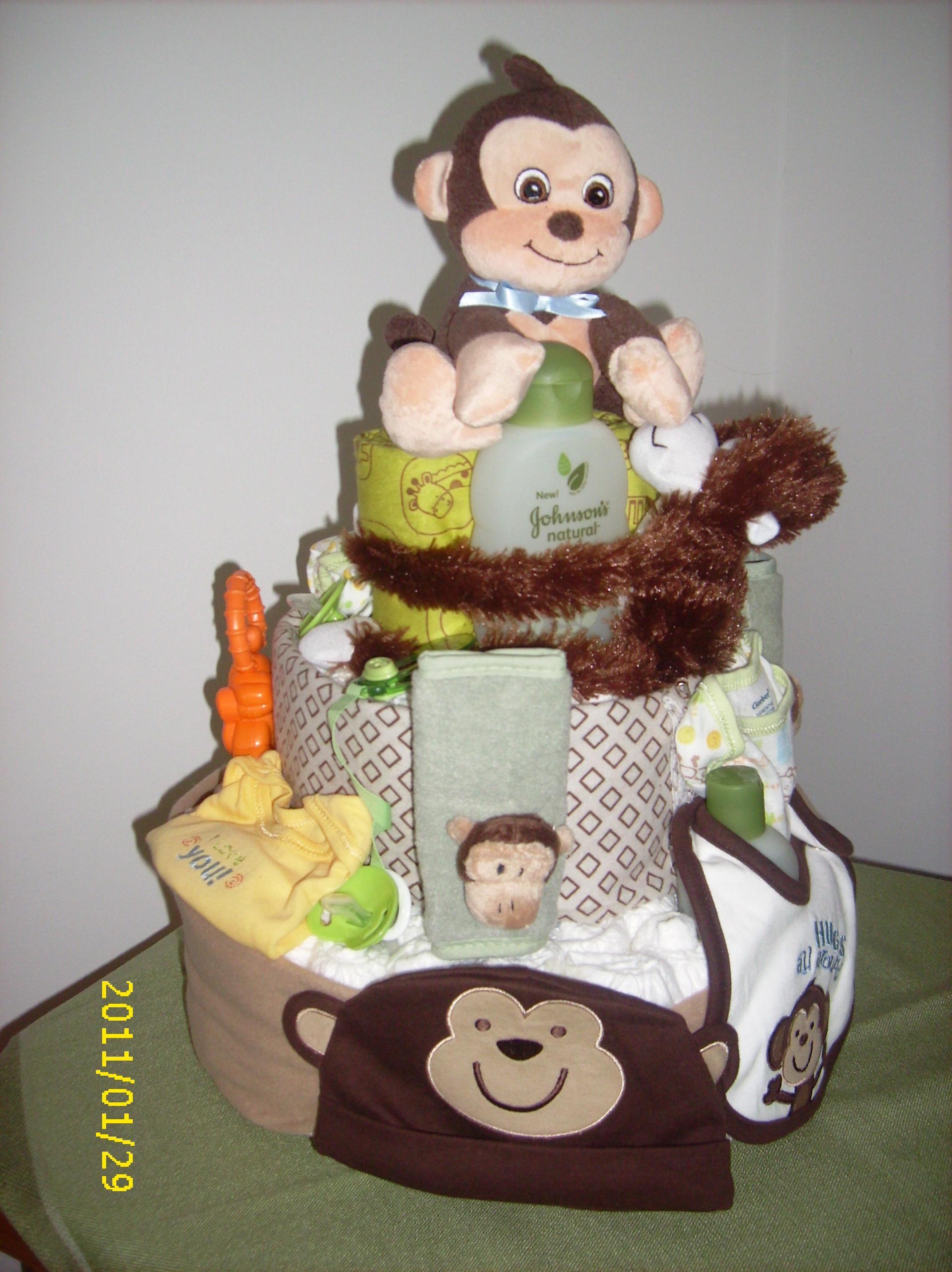 Monkey theme diaper cake for baby shower babies pinterest - Baby shower cakes monkey theme ...