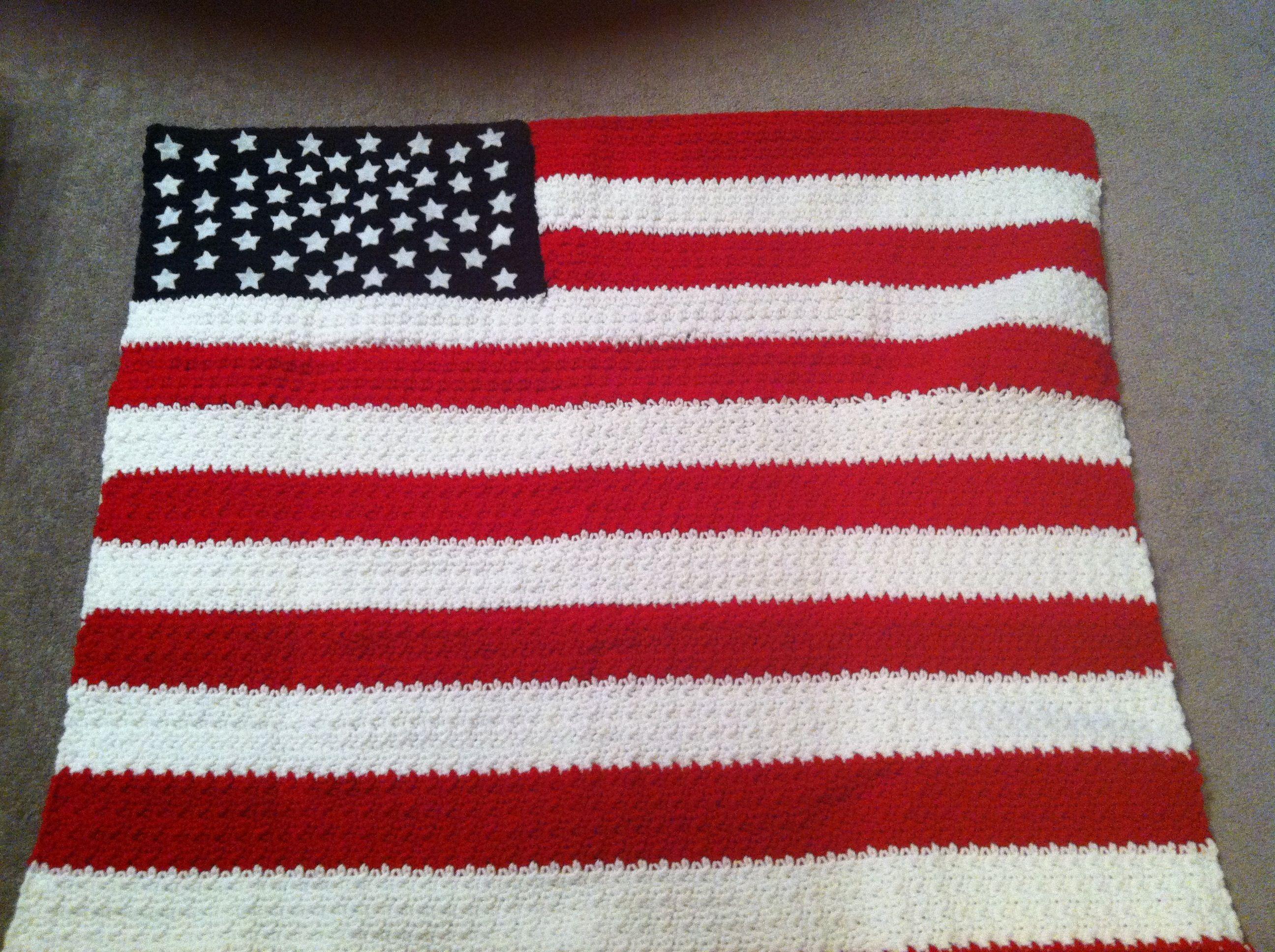 Crochet Pattern For Usa Flag : Crocheted American Flag 4th of July Pinterest