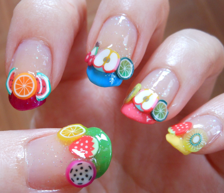 Фимо фрукты на ногтях фото