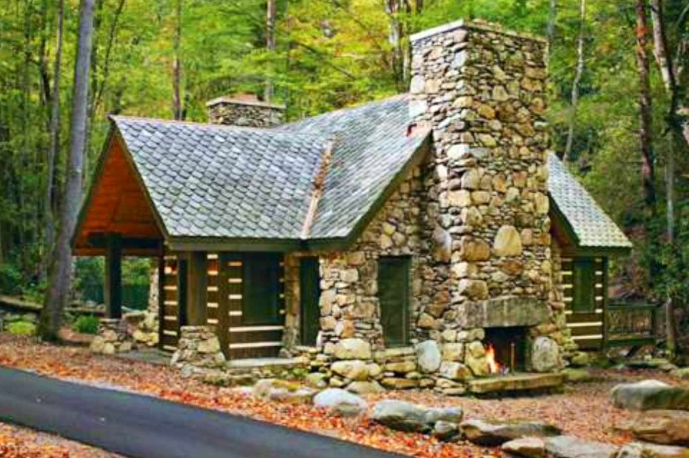 Stone log cabin home pinterest for Stone and log homes