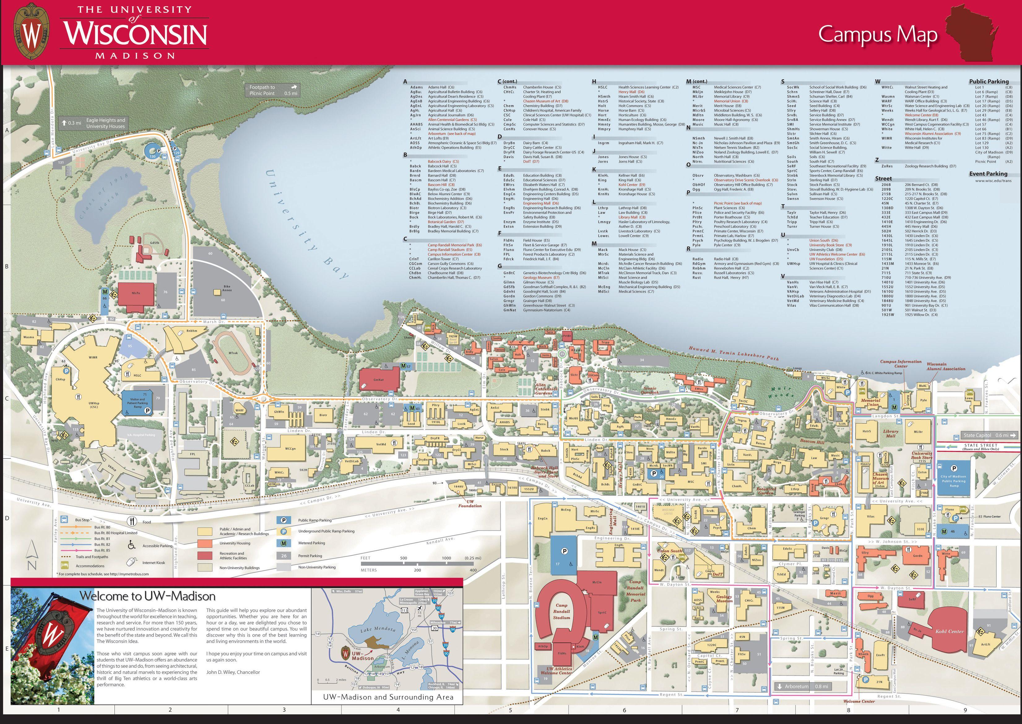 Univ Of WisconsinMadison Campus Map  Design  Pinterest
