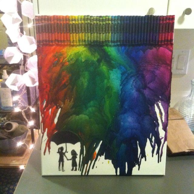 Canvas crayon diy art cool ideas pinterest for Crayon diy canvas
