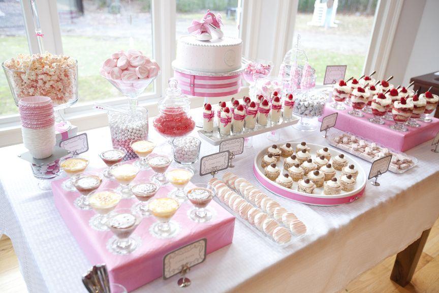 glam baby shower perfect dessert bar babyshowers pinterest