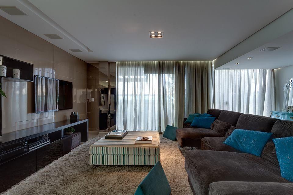 Sala De Tv Marrom E Azul ~ Líder interiores  Lar doce lar  Pinterest