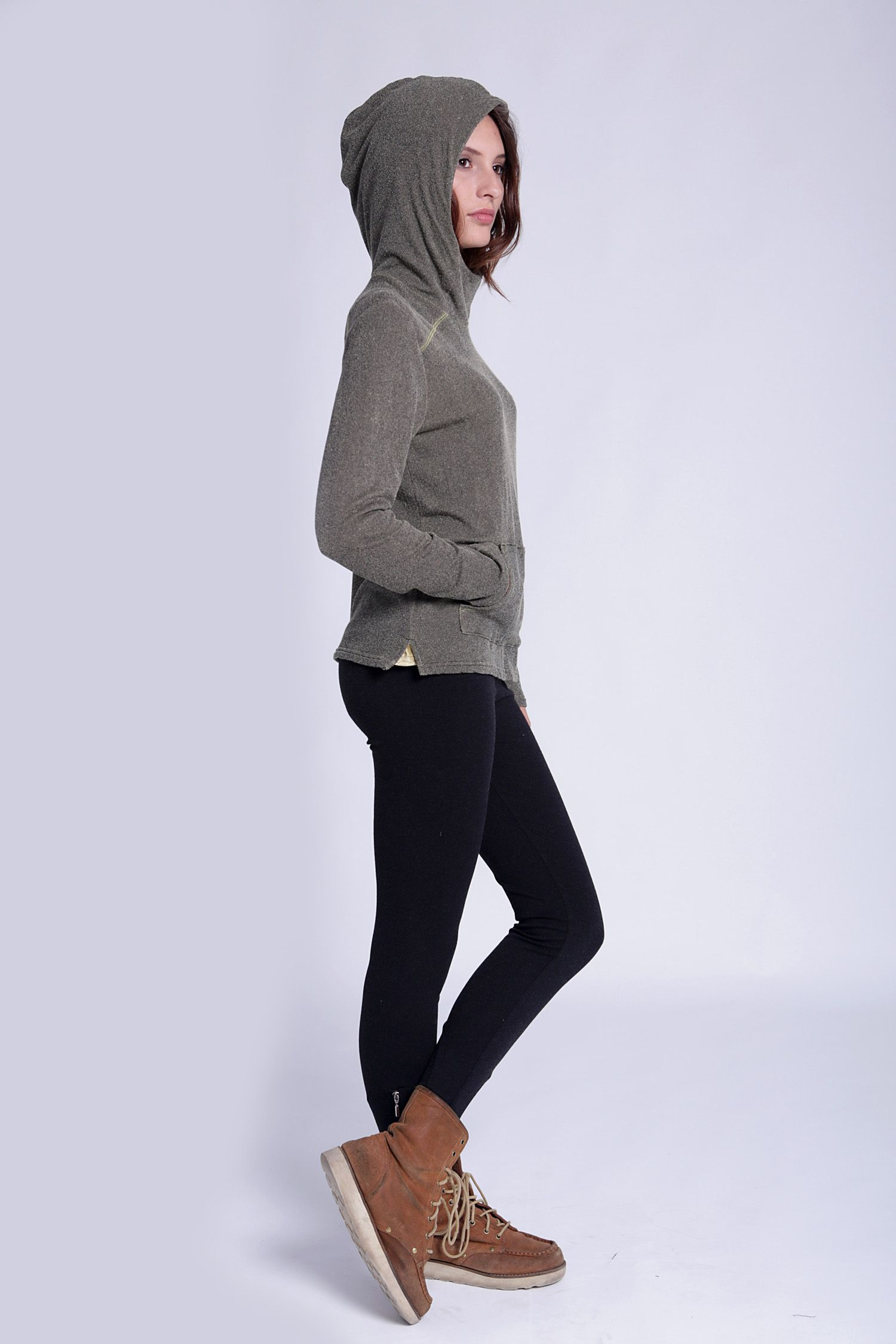 Velour hoodie u0026 black leggings | Leggings outfits | Pinterest