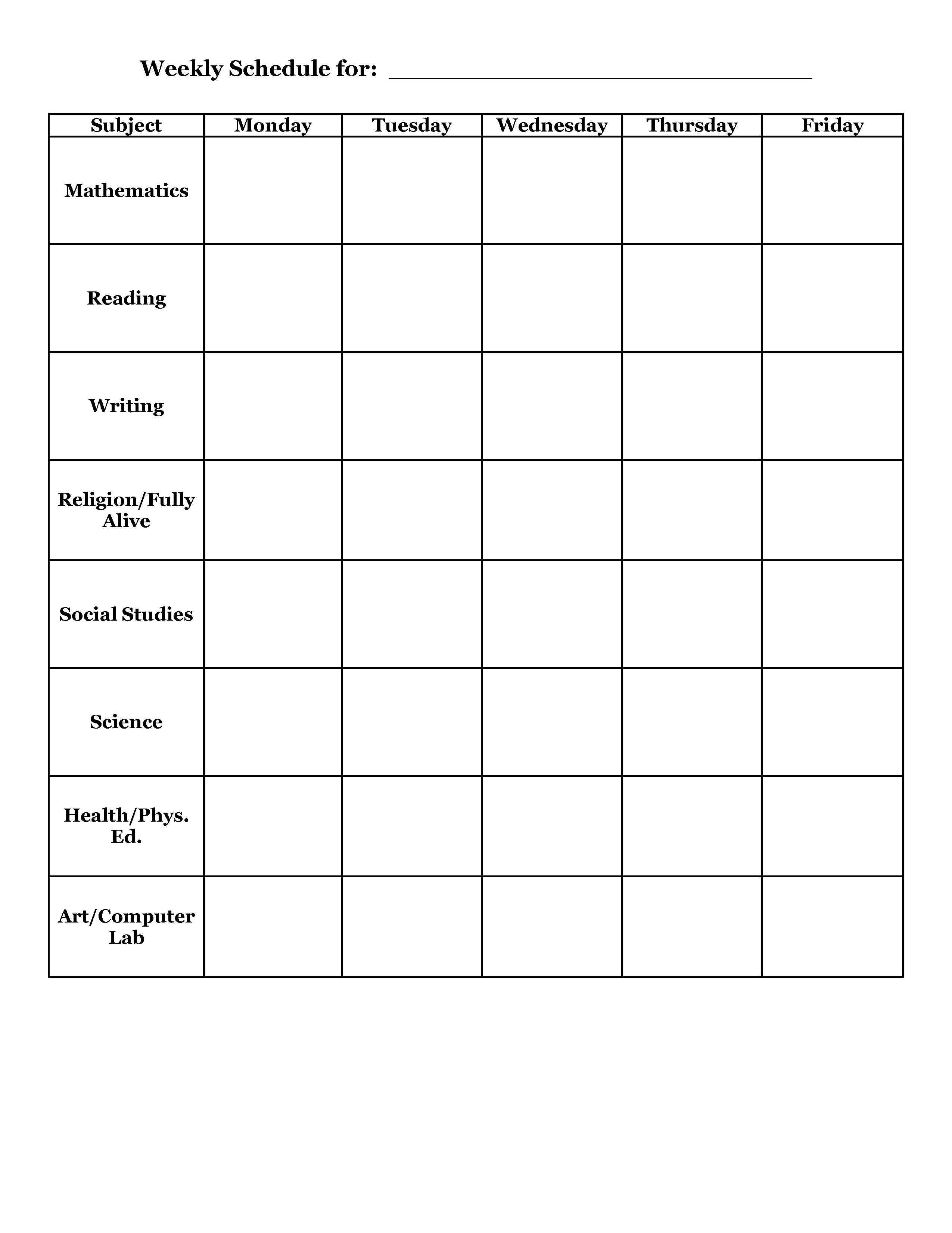 Daily Timetable Template For Students Printable Editable Blank – Daily Timetable Template