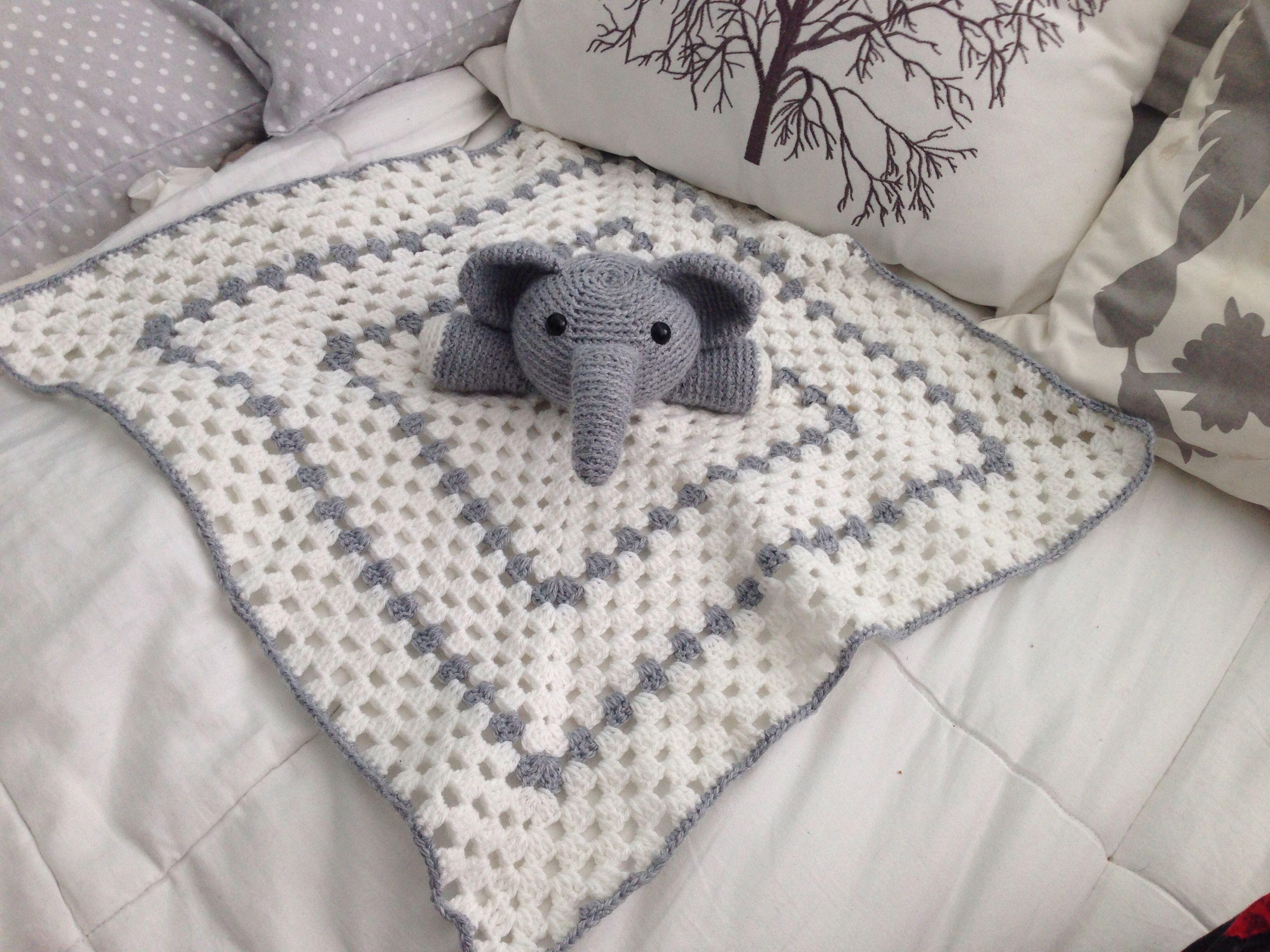 Crochet Elephant Blanket : Crochet security blanket elephant crochet & knit Pinterest