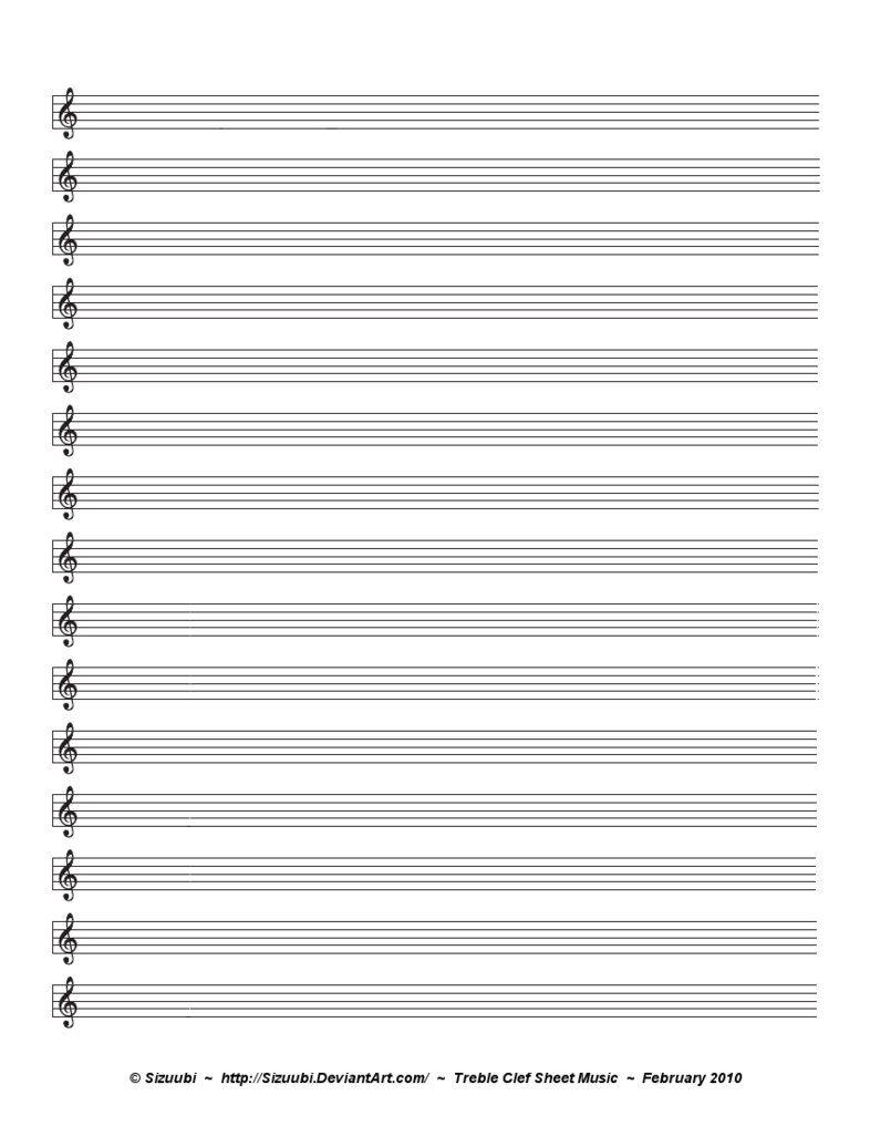 Blank Piano Sheet Music Treble Clef – Printable Editable Blank 2017