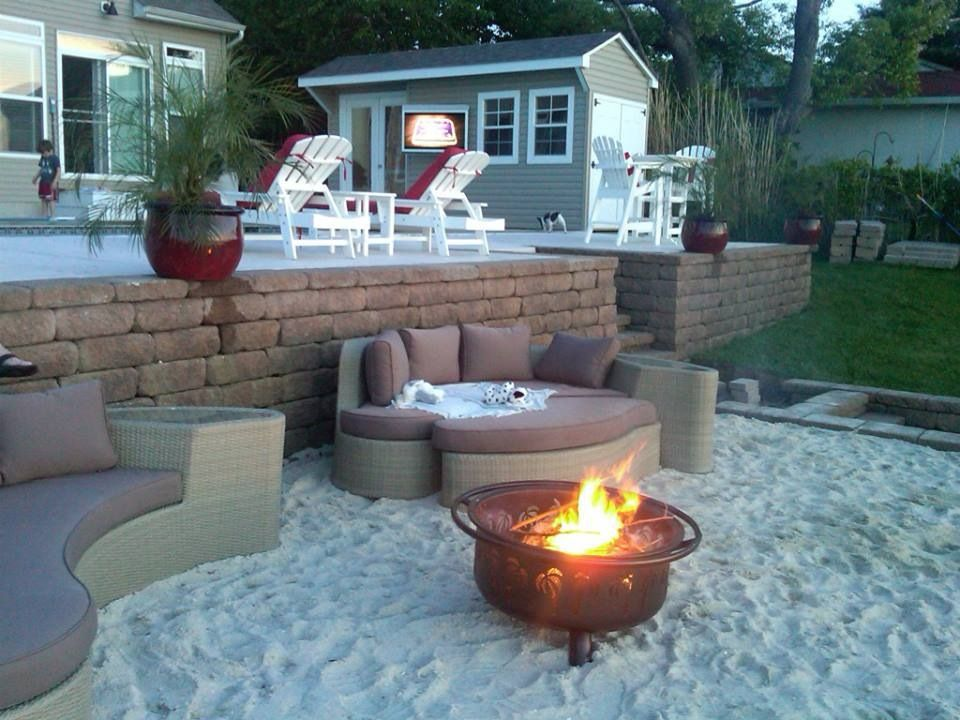 Sand Fire Pit Backyard : Cool sand around firepit at the beach  Back yard  Pinterest