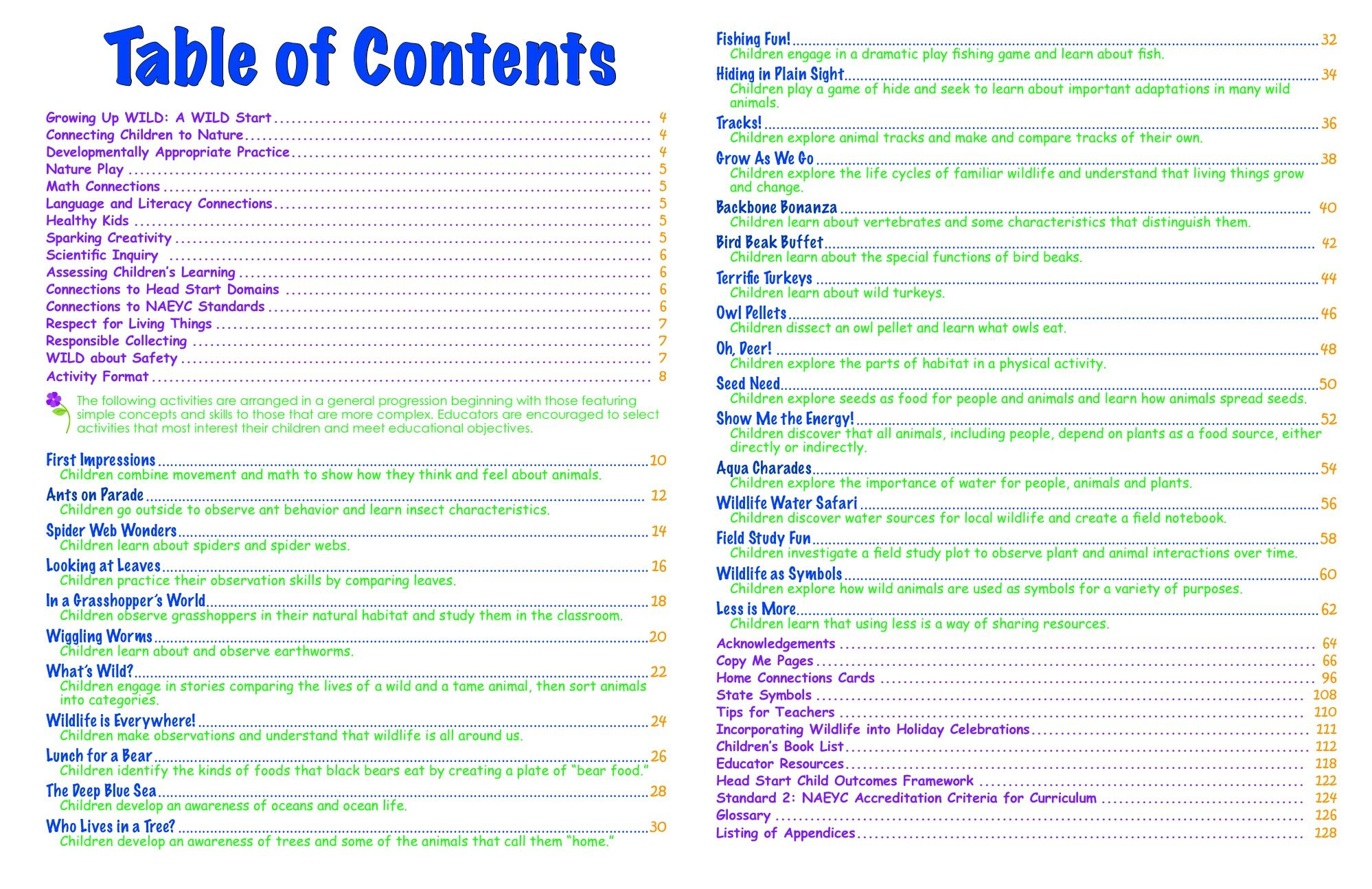 Table of contents of research paper for Table of contents