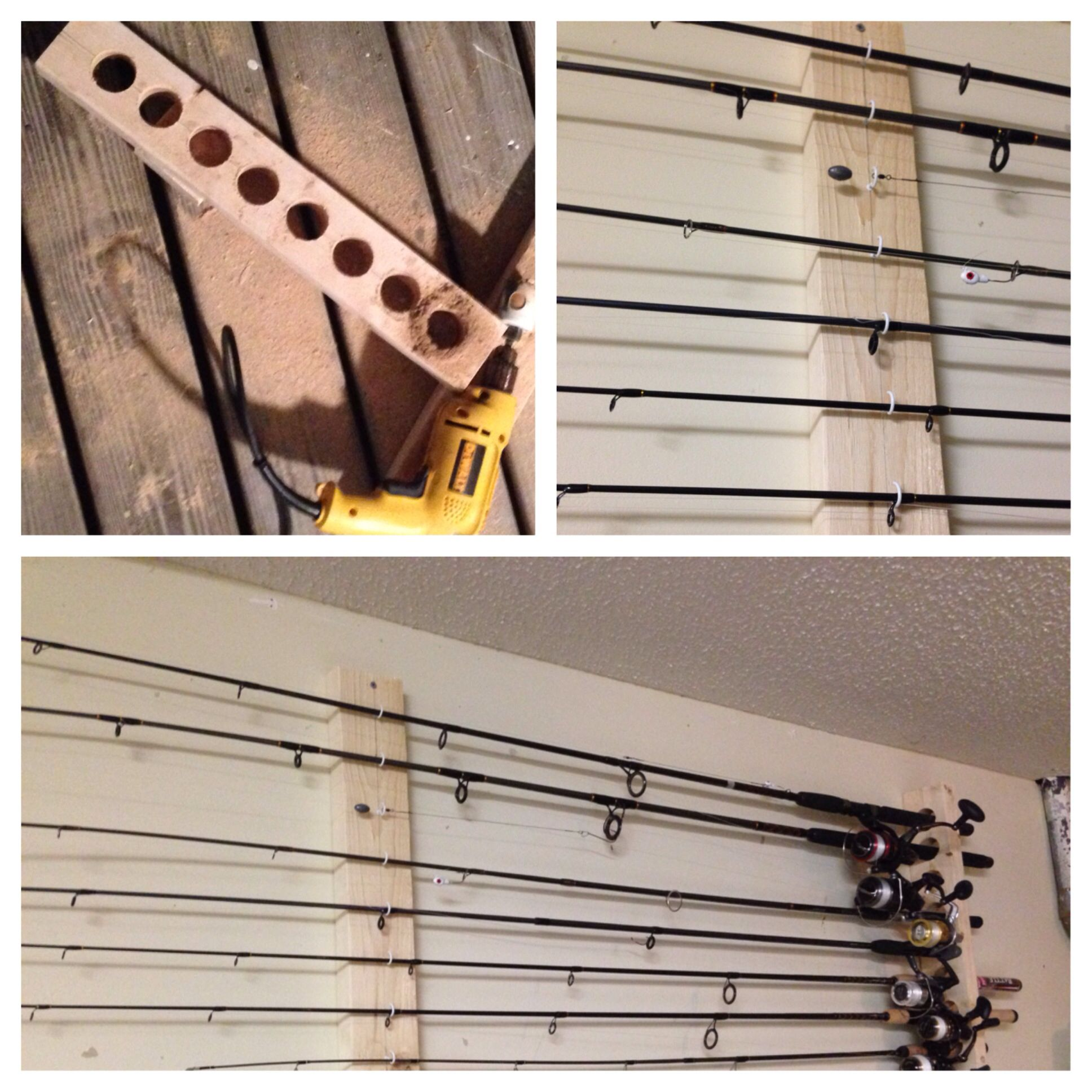 Diy fishing pole rack fishing tips pinterest for Diy fishing pole rack