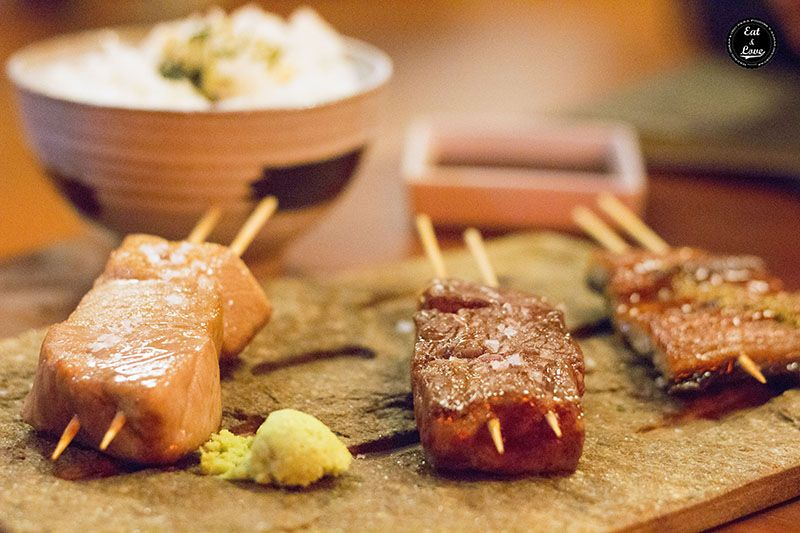 Trío de kushiyaki (Tres tesoros imperiales) - Izakaya Hattori Hanzo Madrid - restaurante japonés