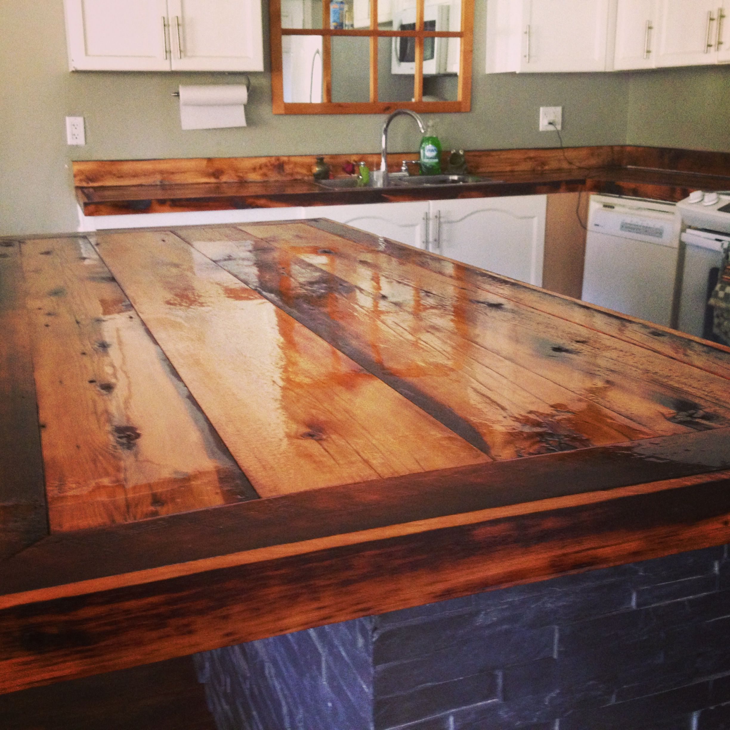 Diy butcher block countertops rustic diy custom butcher block desk top made from reclaimed - Diy faux butcher block countertops ...