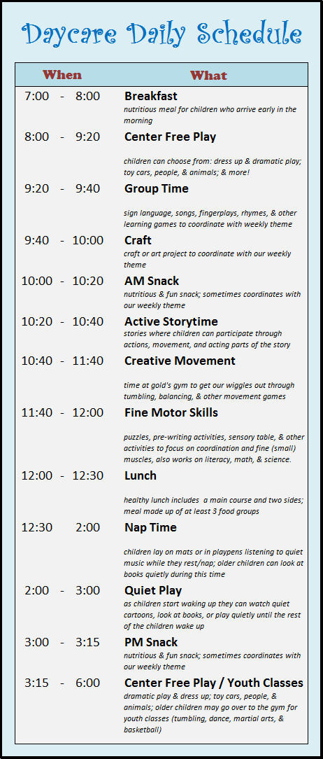 child care employee schedule templates