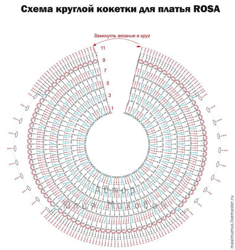 Схема вязания кокетки крючком круглой кокетки 45