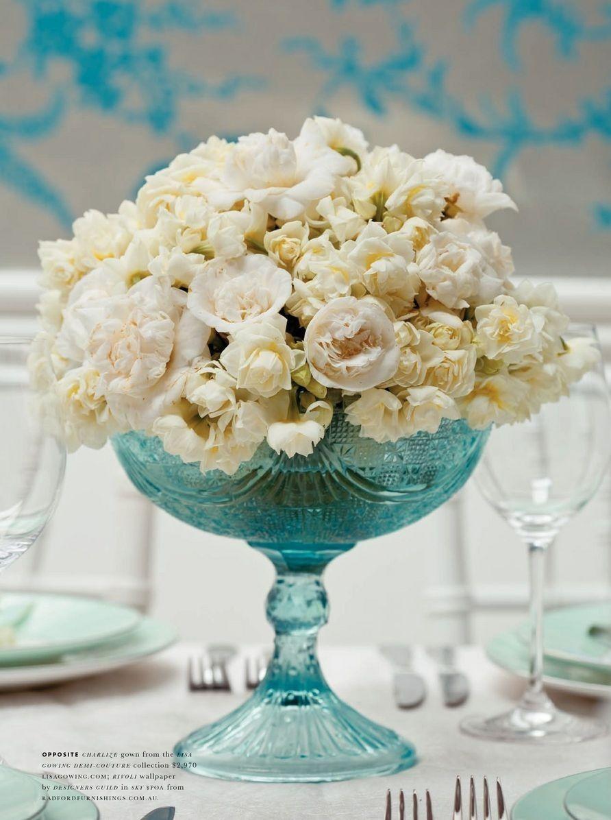 Tiffany blue flower arrangement flowers pinterest
