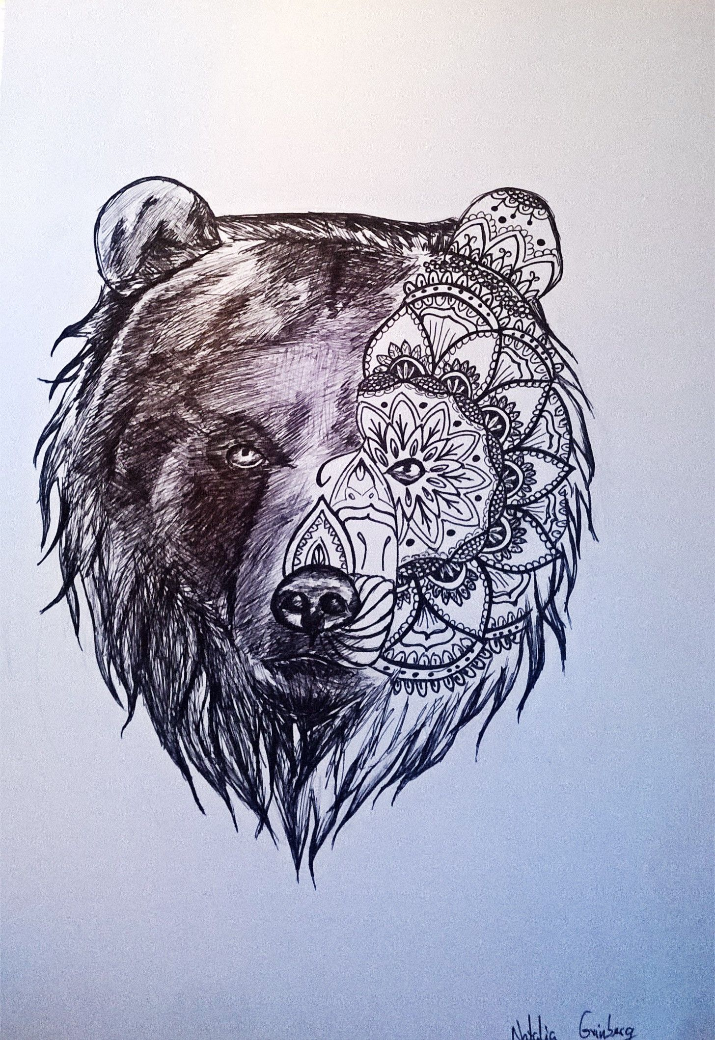 Bear head tattoo drawing