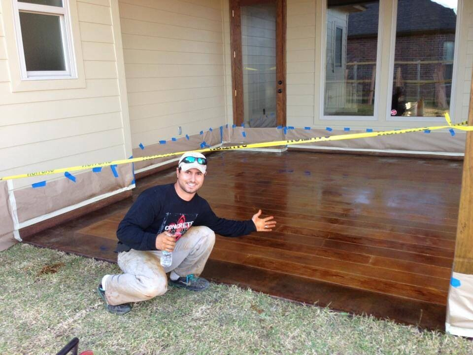 Concrete stained to look like wood for the yard for Hardwood floors on concrete