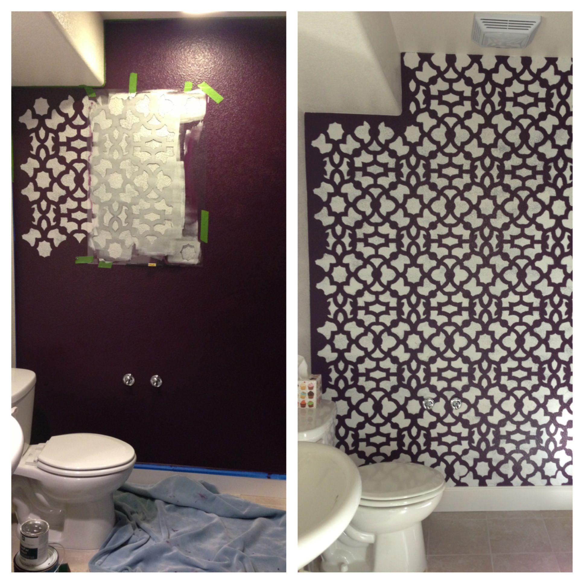Purple bathroom with stencil design Walls I love