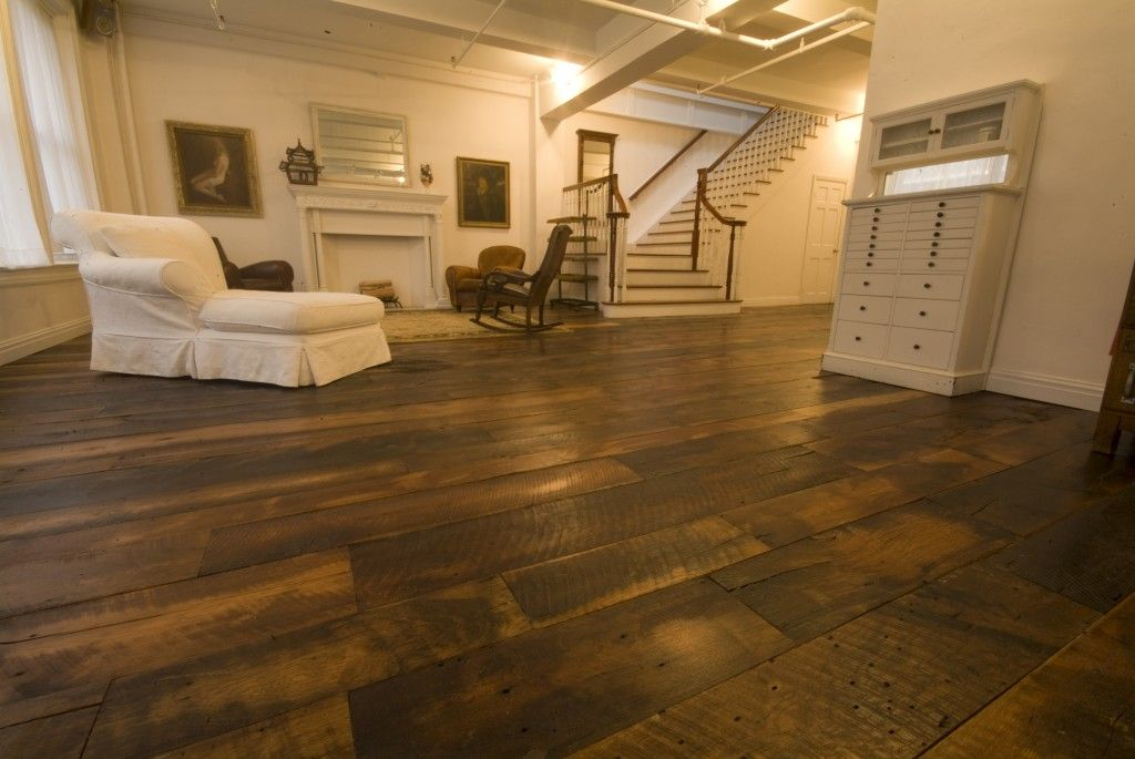 Skip planed oak wide plank flooring reclaimed flooring for Wide plank wood flooring
