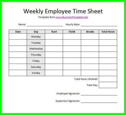 Doc15001030 Time Sheet Printable employee time sheet – Printable Time Sheets Forms