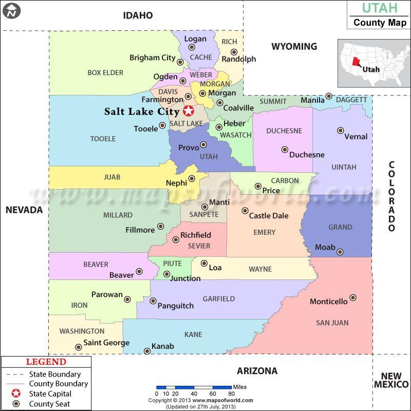 Utah County Map School State History Pinterest Utah
