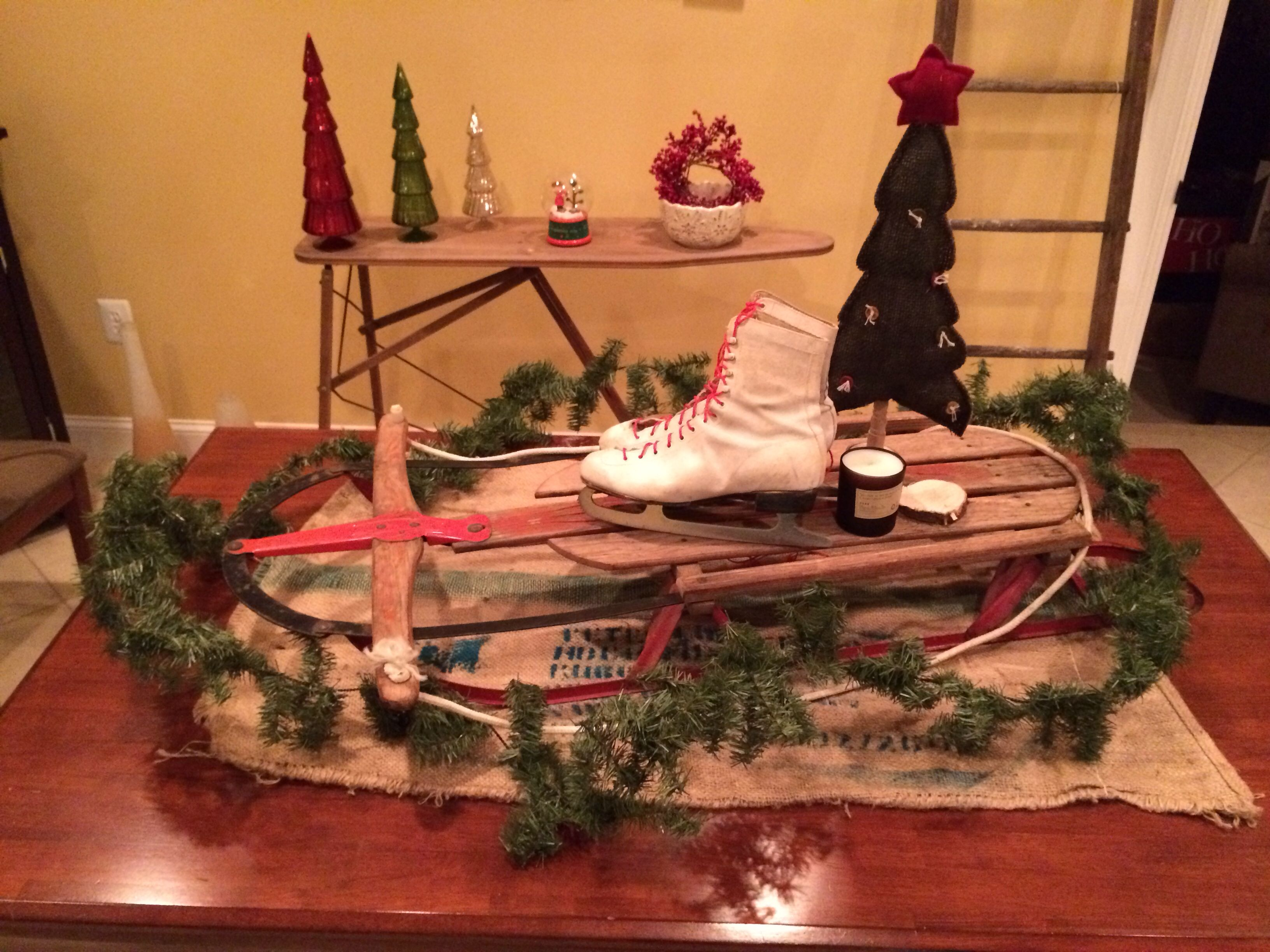Sled Centerpiece For Christmas Holiday Ideas Pinterest