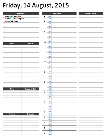 Daily Hourly Calendar Template 2015 - Calendar Examples