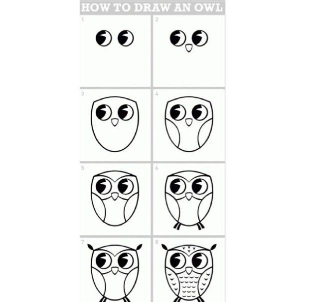 cute and easy way to draw an owl c s k e t c h b o o